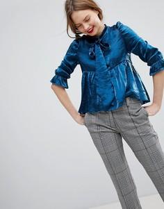 Блузка с эффектом металлик и завязкой на бант Sister Jane - Синий