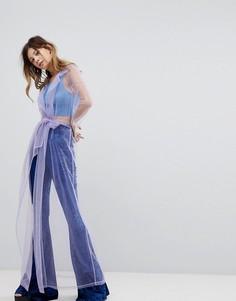 Пальто макси из органзы с поясом Rokoko - Фиолетовый