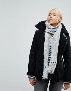 Вязаный шарф с узором косичка Boardmans - Серый