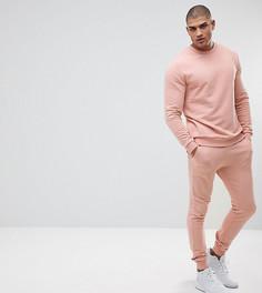 Розовый спортивный костюм со свитшотом и джоггерами скинни ASOS TALL - Розовый