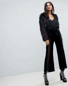 Широкие бархатные брюки с кружевными вставками River Island - Черный