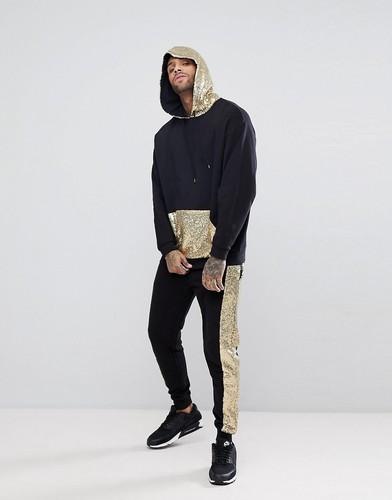 Спортивный костюм с худи и джоггерами с отделкой пайетками ASOS - Черный