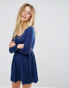 Платье с длинными рукавами и кружевной вставкой Brave Soul Stephens - Темно-синий
