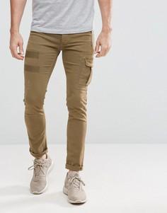 Саржевые брюки карго Religion - Бежевый