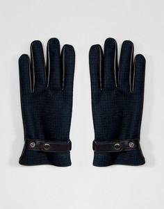 Зеленые кожаные перчатки в клетку ASOS - Зеленый