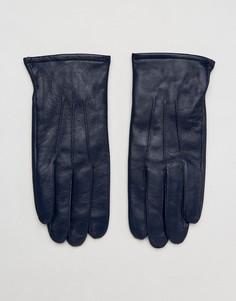 Темно-синие кожаные перчатки ASOS - Темно-синий