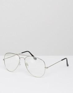 Очки-авиаторы с прозрачными стеклами в серебристой оправе ASOS - Серебряный