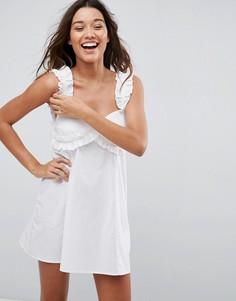 Хлопковое пляжное платье с оборками ASOS - Белый