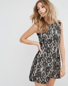 Кружевное короткое приталенное платье Ax Paris - Золотой