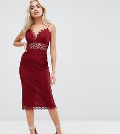Кружевное платье-футляр миди ASOS PETITE - Красный