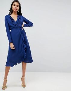 Платье миди с запахом и оборками ASOS - Темно-синий