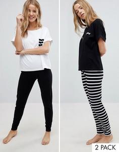 Пижамный комплект из 2 футболок и леггинсов ASOS - Мульти