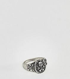 Серебристое кольцо-печатка с черепом Reclaimed Vintage эксклюзивно для ASOS - Серебряный