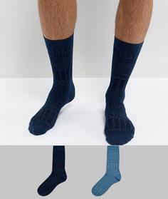 Набор из 2 пар фактурных носков ASOS - Синий