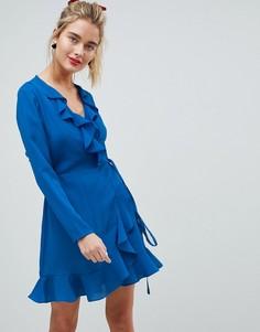 Платье мини с запахом и оборками ASOS - Синий