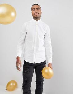 Рубашка зауженного кроя с цепочкой на воротнике Noose & Monkey - Белый