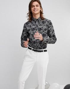 Приталенная рубашка с кружевным принтом Noose & Monkey - Серый