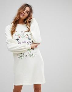 Платье-футболка с вышивкой Vero Moda - Белый