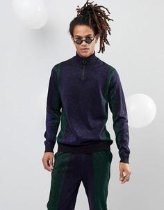 Джемпер с отделкой металлик в стиле колор блок с короткой молнией (зеленый/темно-синий) ASOS - Темно-синий