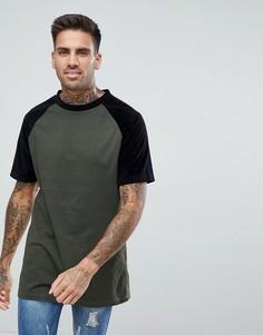 Удлиненная футболка цвета хаки с велюровыми рукавами boohooMAN - Зеленый