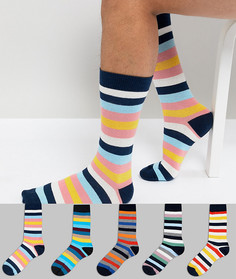 5 пар носков в разноцветную полоску ASOS - Мульти