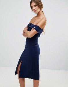 Платье-футляр с открытыми плечами True Decadence - Темно-синий
