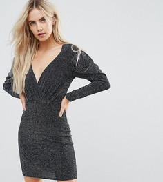 Платье мини в стиле 80-х с запахом и пышными рукавами Boohoo Petite - Черный