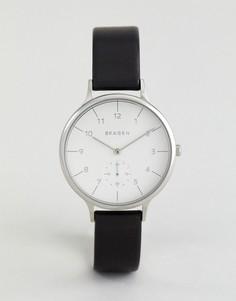 Часы с черным кожаным ремешком Skagen Anita SKW2415 - Черный