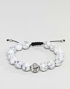 Белый браслет из бусин с мраморным рисунком DesignB эксклюзивно для ASOS - Белый
