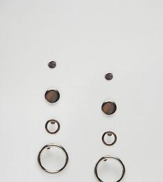 Набор из 4 пар сережек (незамкнутые кольца / гвоздики) ASOS - Серебряный