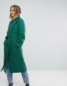 Зеленое длинное пальто с поясом и D-образным кольцом ASOS - Зеленый