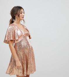 Платье мини с пайетками и расклешенными рукавами ASOS Maternity - Золотой