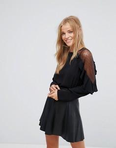 Блузка с оборками и прозрачными рукавами Pimkie - Черный