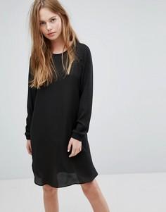 Цельнокройное платье с длинными рукавами Pieces Dolly - Черный