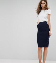 Строгая юбка-карандаш с оборкой на карманах Alter Tall - Темно-синий