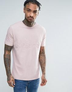 Розовая футболка с тисненной надписью Superior River Island - Розовый