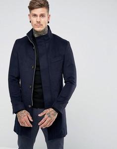 Темно-синее пальто с добавлением шерсти и воротником-стойкой Harry Brown - Темно-синий