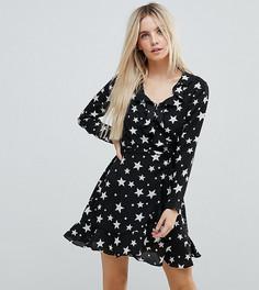 Платье мини со звездным принтом, запахом и оборками ASOS PETITE - Мульти