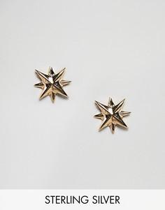 Позолоченные серьги с дизайном в стиле компаса Fashionology - Серебряный