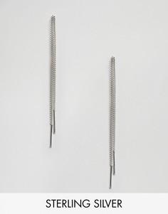 Серебряные серьги с длинными цепочками Fashionology - Серебряный