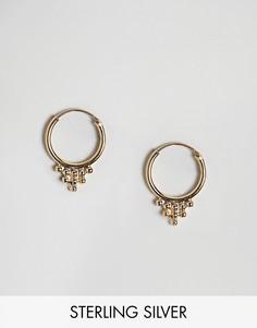 Позолоченные серьги-кольца 12 мм Fashionology - Коричневый
