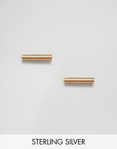 Позолоченные серьги с планками Fashionology - Серебряный
