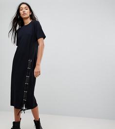 Платье-футболка миди со шнуровкой ASOS TALL - Черный