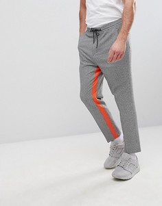 Суженные книзу строгие брюки в клетку с оранжевыми полосками ASOS - Черный