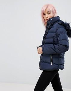 Дутая куртка с капюшоном QED London - Темно-синий