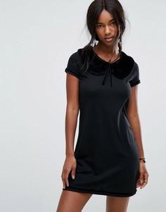 Платье мини с воротником из искусственного меха Anna Sui - Черный