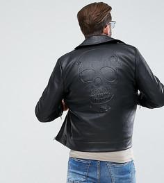 Черная куртка из искусственной кожи с тисненым черепом Liquor N Poker - Черный