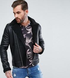Черная куртка из полиуретана с искусственной овечьей шерстью Liquor N Poker - Черный