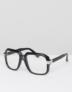 Черные матовые очки с прозрачными стеклами ASOS Navigator - Черный