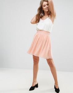 Плиссированная юбка с принтом Minimum - Белый